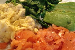 Egg, spinach, smoked salmon and avocado breakfast