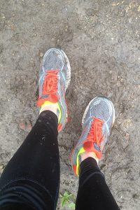 Brooks Ghost shoes getting nice and muddy