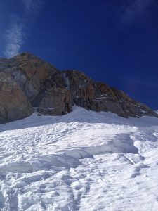 Approaching the Chèré Couloir