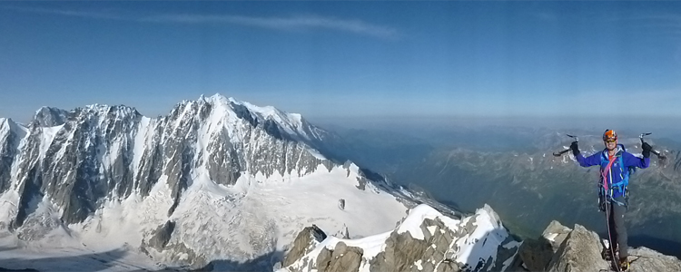 The summit of the Aiguille du Chardonnet with the Droites, Courtes and Verte in the background