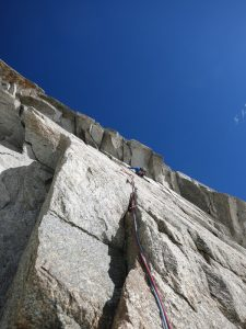 Approaching the crux, roof section - photo by Mark McCarthy