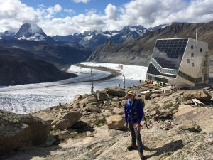 The space-age Monte Rosa Hut with a superb view