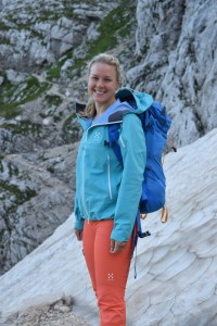 Sophie setting off to climb Triglav