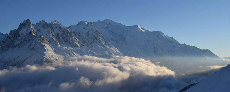 The sun setting over Mont Blanc
