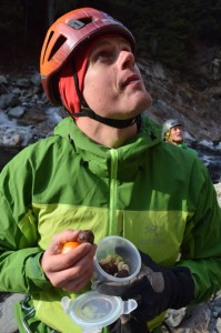 Eating homemadeClif bars and clementines in the Arc'teryx Alpha Comp