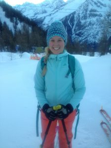 A happy, ski touring Sophie