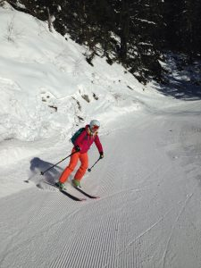 Sophie skiing on the descent