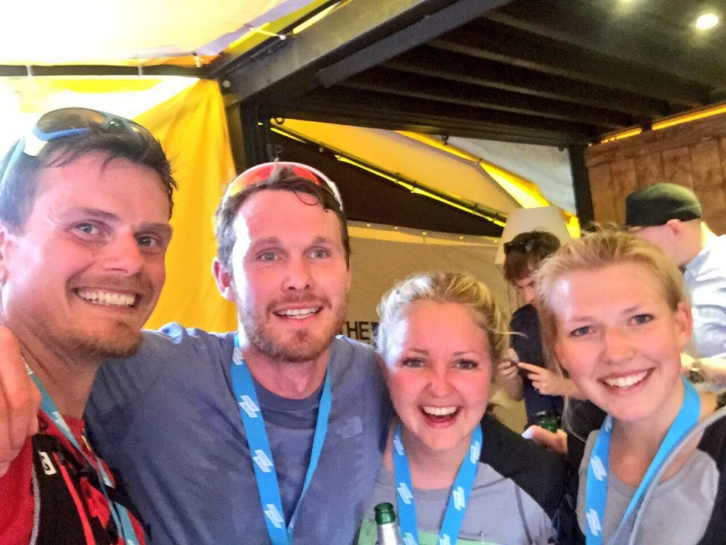 Finish line smiles with Graham, Hannah and Emily