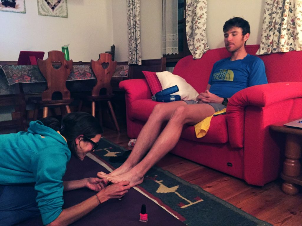 Rory Bosio painting Mike's toes for race luck!